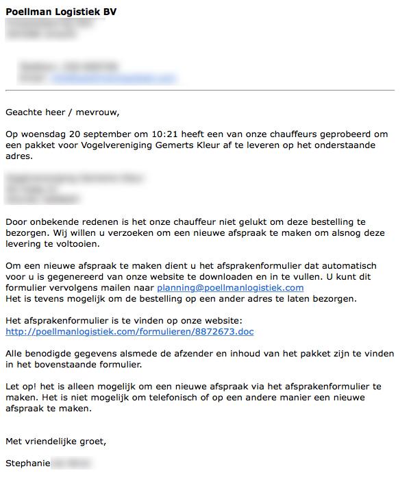 Veel meldingen over gevaarlijke e-mails 'transportbedrijven'
