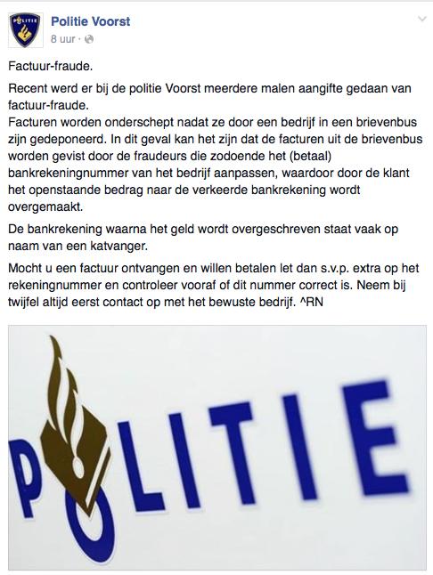Politie Voorst waarschuwt voor factuurfraude