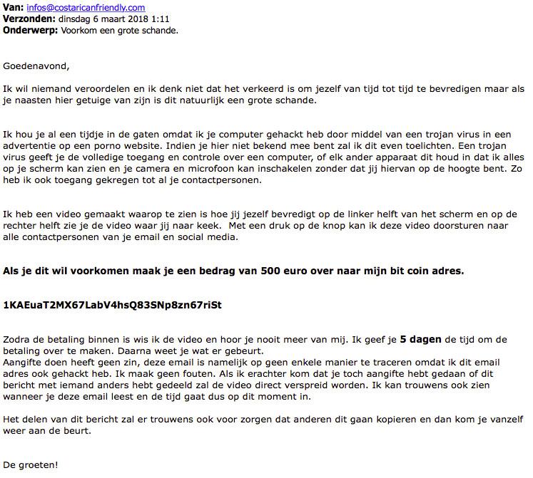 Fraudehelpdesk waarschuwt voor afpersmail over 'intieme beelden'