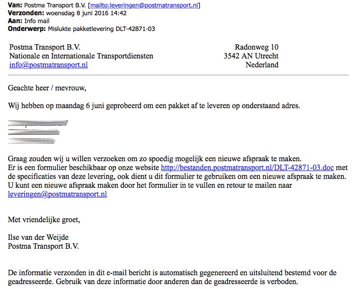 E-mail uit naam van Postma Transport bevat malware