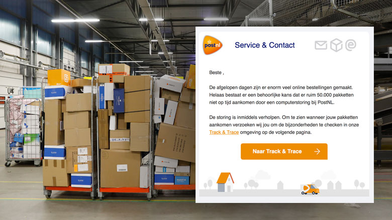 E-mail 'PostNL' over computerstoring is vals