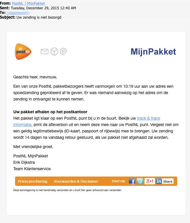 Mail 'PostNL, uw zending is niet bezorgd' bevat malware