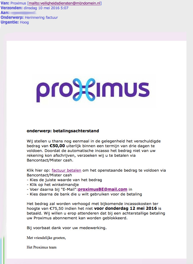 Nepmail 'Proximus' over betalingsachterstand