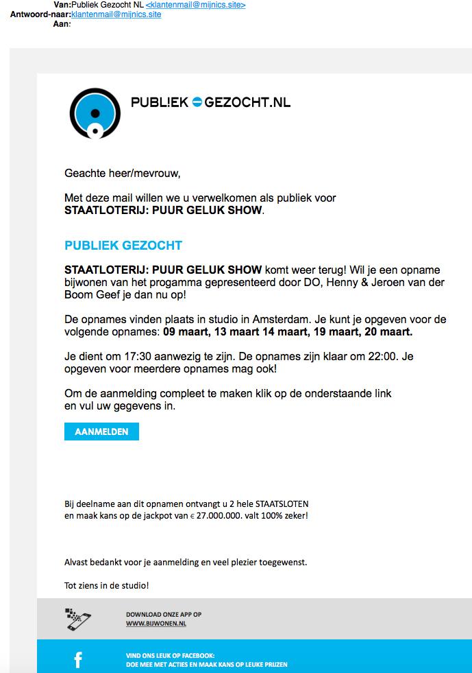 Let op: valse e-mail 'Publiek-Gezocht.nl'