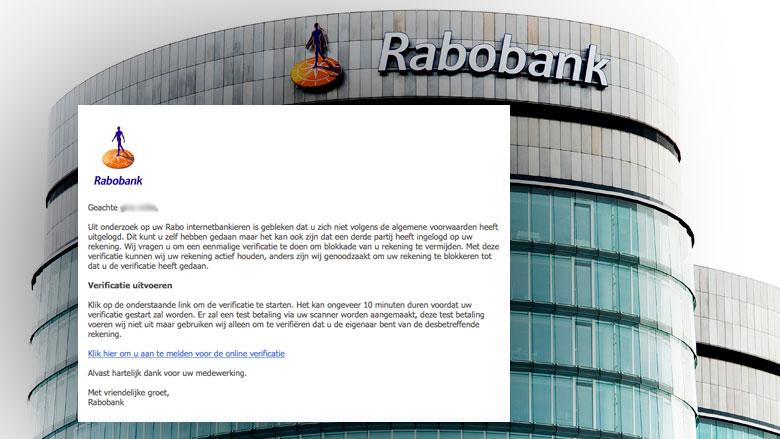 Pas op voor gepersonaliseerde phishing e-mail 'Rabobank'