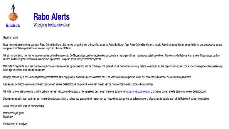 Let Op Er Is Een Rabobank Phishingmail In Omloop Opgelicht Avrotros Programma Over Oplichting En Fraude En Bedrog