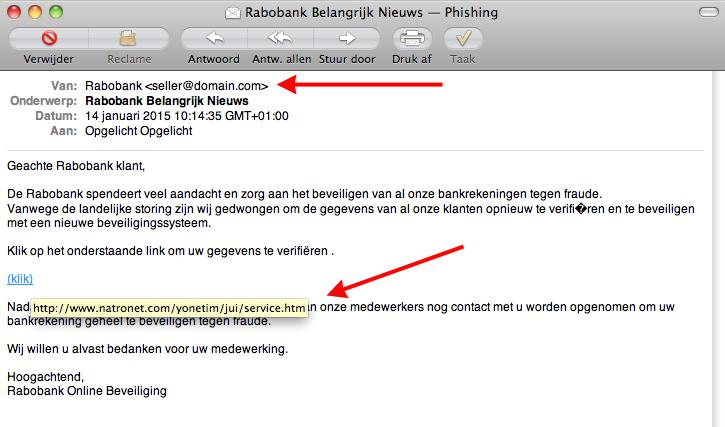 Valse e-mail: 'Rabobank Belangrijk Nieuws'