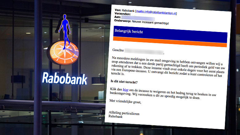 Let op! E-mail over incasso Rabobank is nep