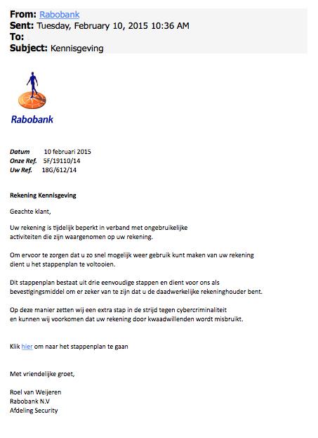 Mail Rabobank over 'beperking rekening' is vals