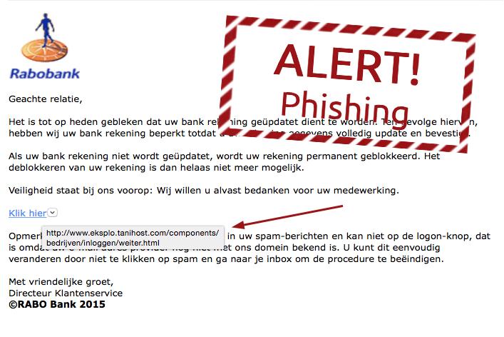Phishing: 'Rabobank rekening updaten'