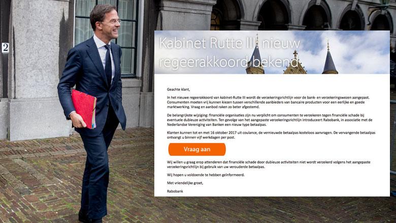 Phishingmail 'Rabobank': 'Dit zijn de maatregelen van het kabinet-Rutte III'