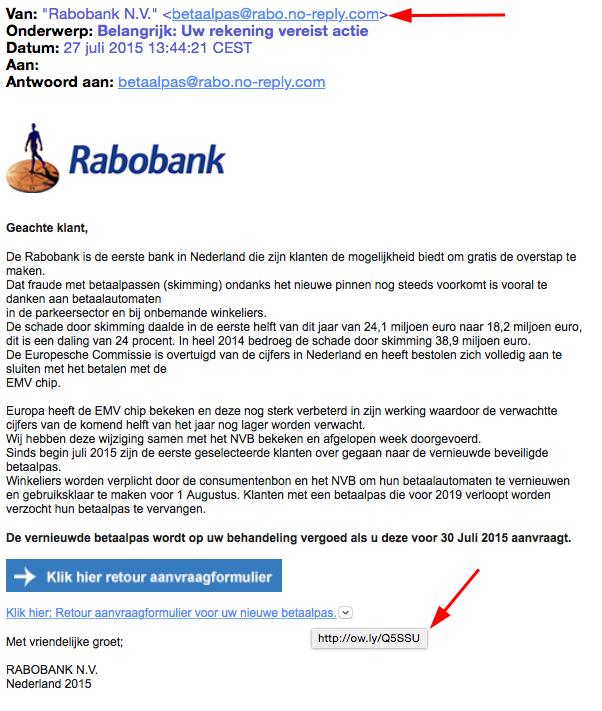 Valse mail Rabobank: 'rekening vereist actie'