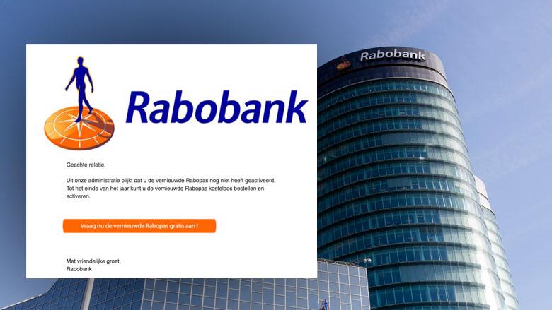 Phishingmail 'Rabobank' over nieuwe pas