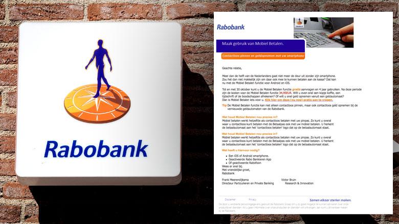 E-mail 'Rabobank' over mobiel betalen is phishing