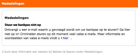 'Stuur je bankpas niet op'