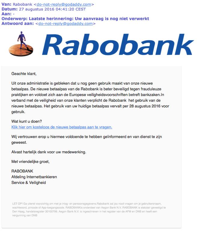 Valse e-mail Rabobank: 'Laatste herinnering'