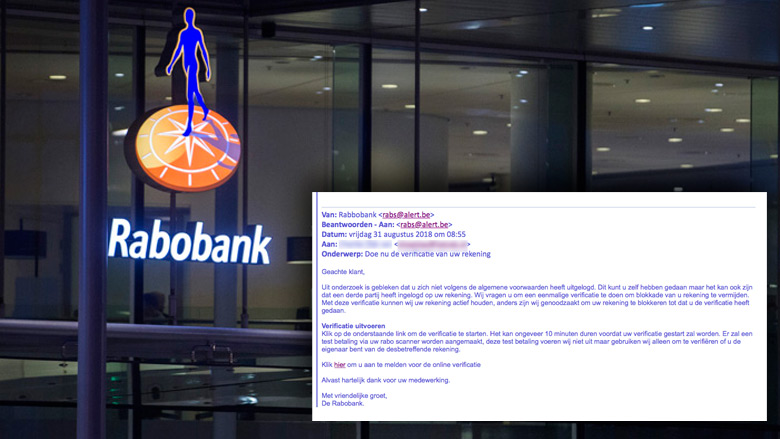 Valse e-mail 'Rabobank' in omloop: 'uw account is geblokkeerd'