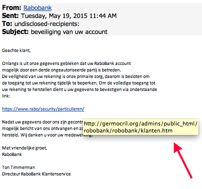 Mail Rabobank 'beveiliging van uw account' is phishing!