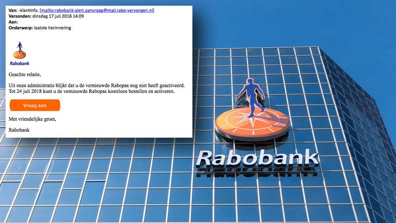 'Laatste herinnering' van Rabobank blijkt phishingmail