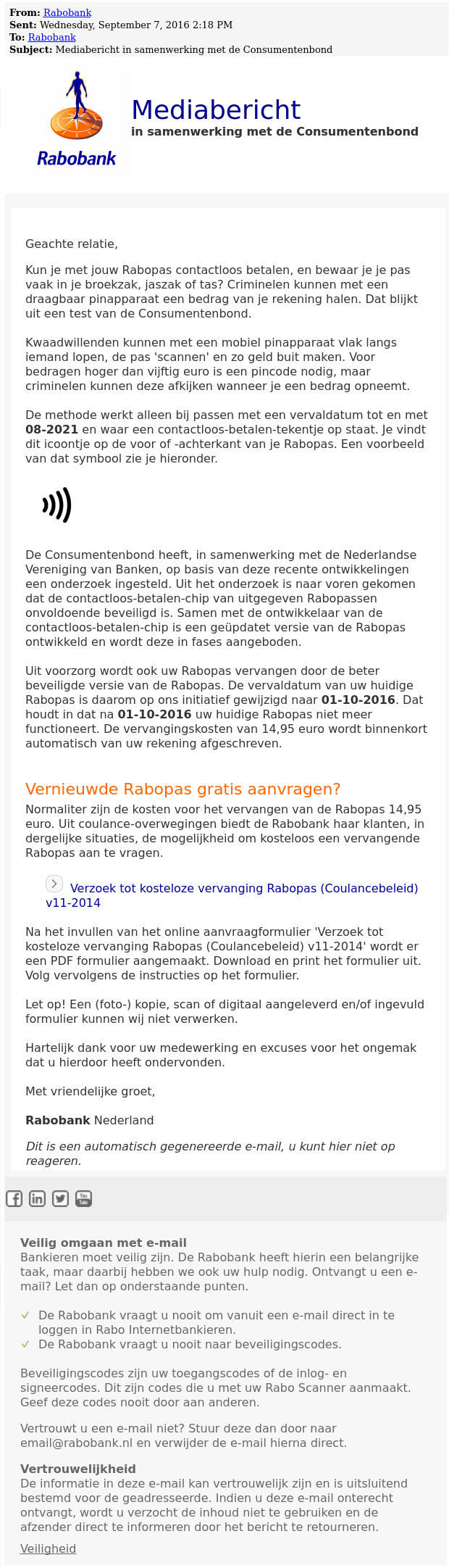 Mail 'Rabobank' is phishing