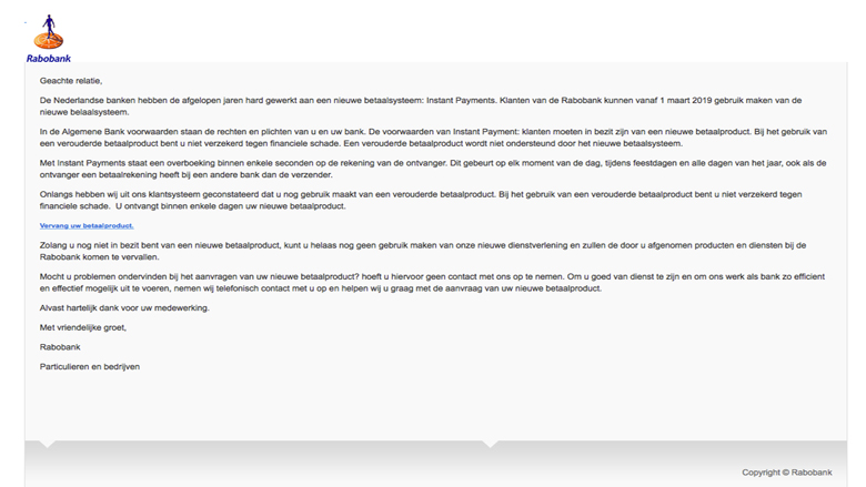 Let op! 'Rabobank' e-mail is nep