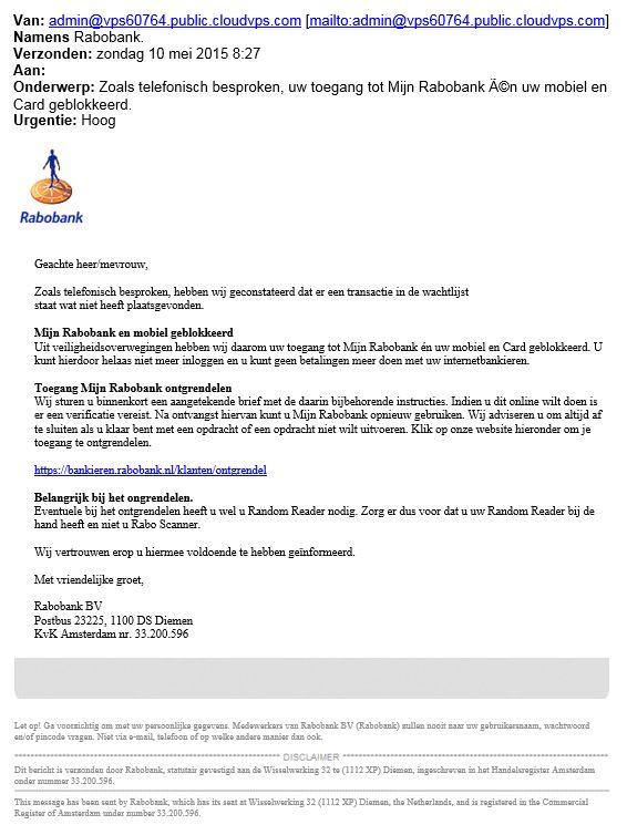 Valse mail Mijn Rabobank in omloop