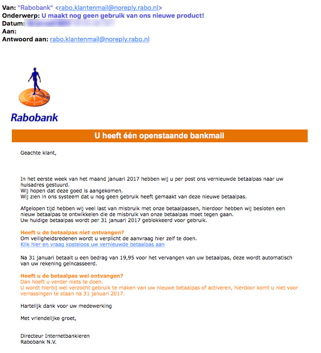 Weer valse e-mails 'Rabobank' in omloop