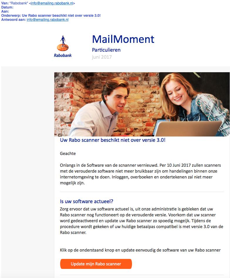 Trap niet in phishingmail Rabobank 'MailMoment'