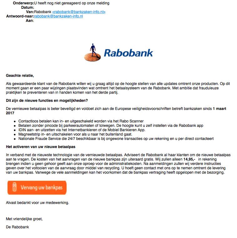 Phishingmail 'Rabobank' over wijzigingen betaalsysteem