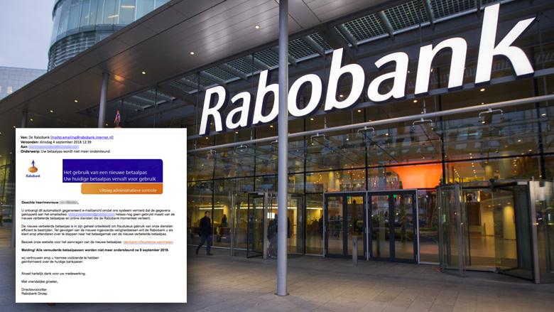 Valse e-mail 'Rabobank' over nieuwe betaalpas