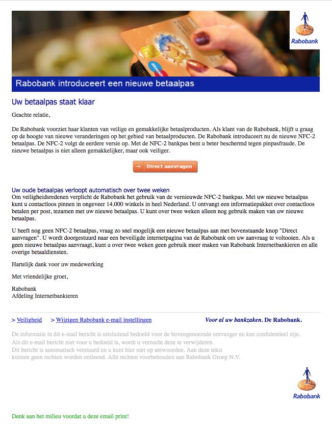 Mail over nieuwe betaalpas Rabobank is phishing