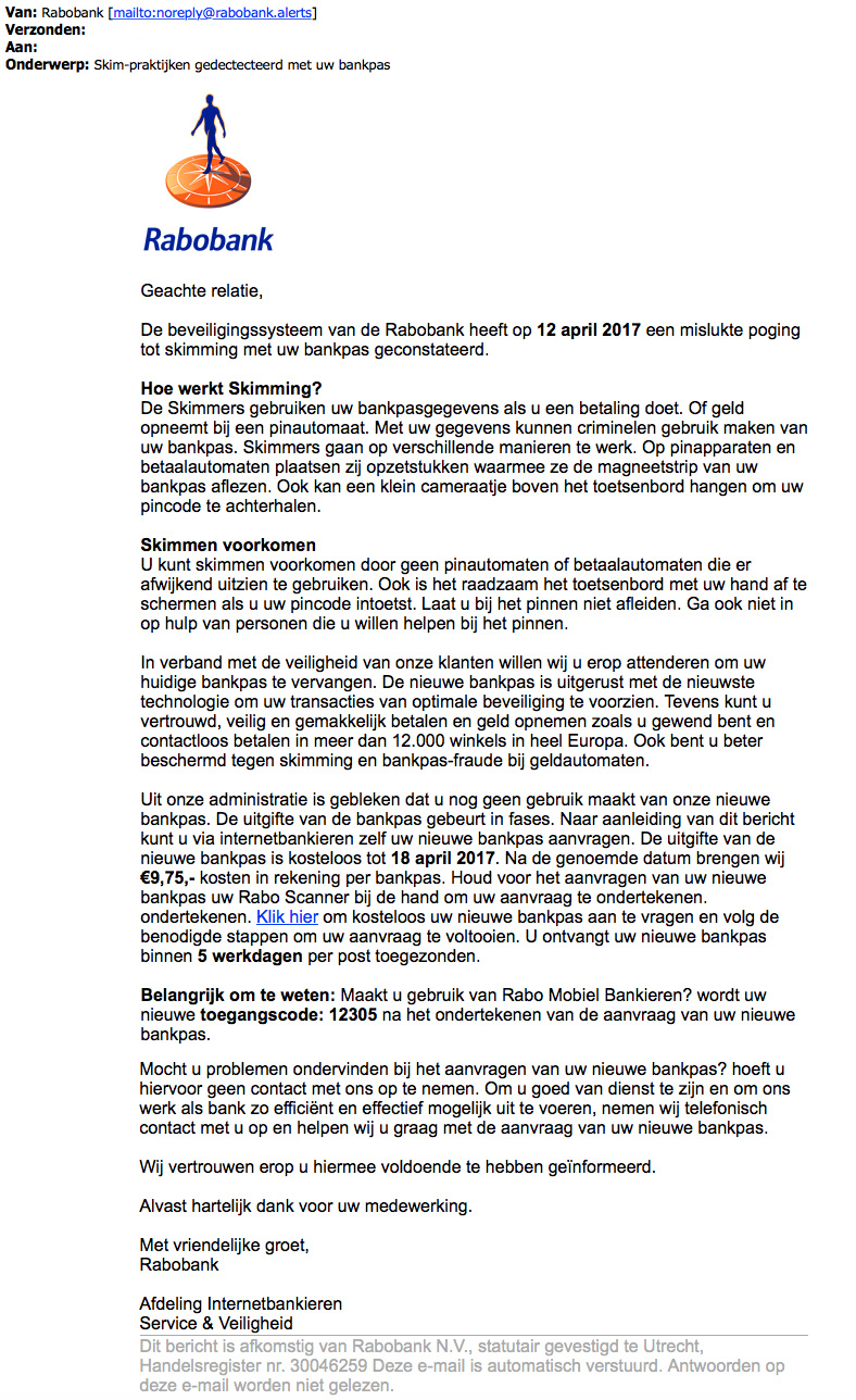 Trap niet in valse e-mail 'Rabobank' over skimmen