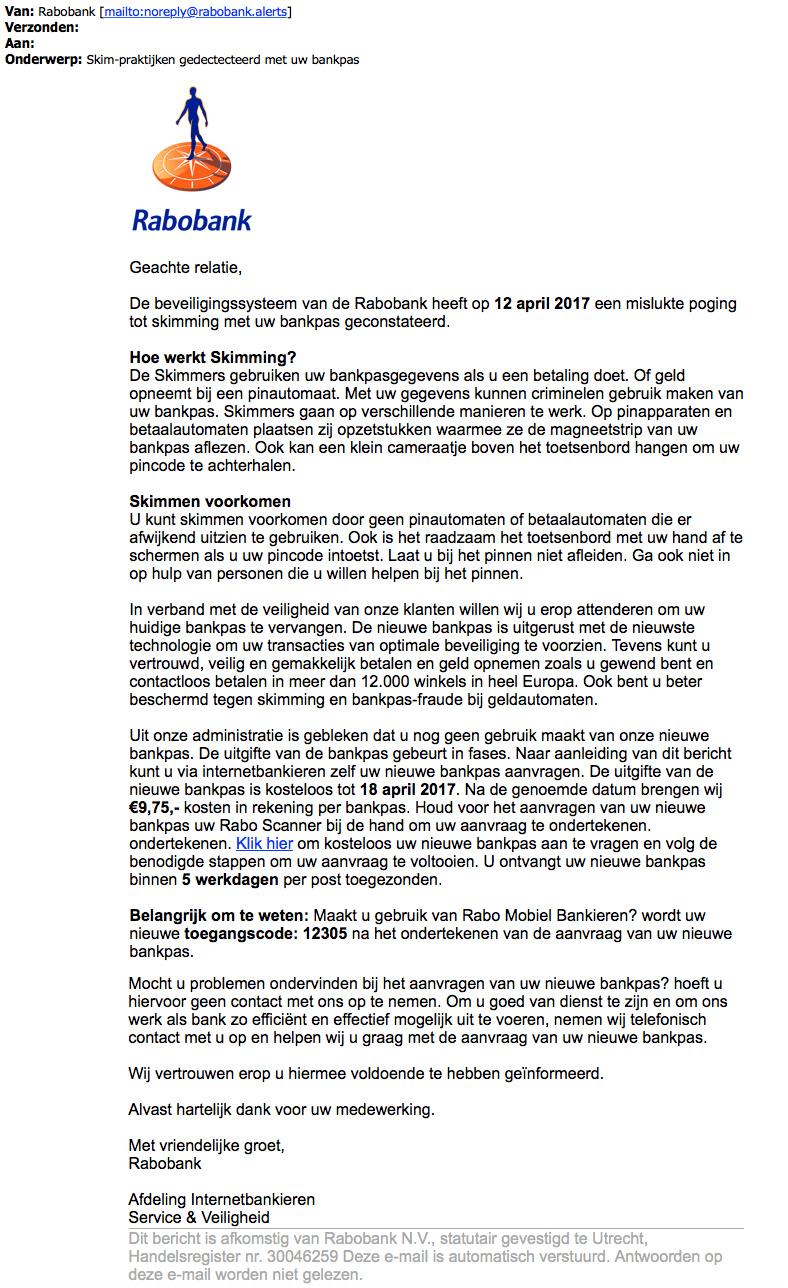Trap niet in valse e-mail 'Rabobank' over skimmen
