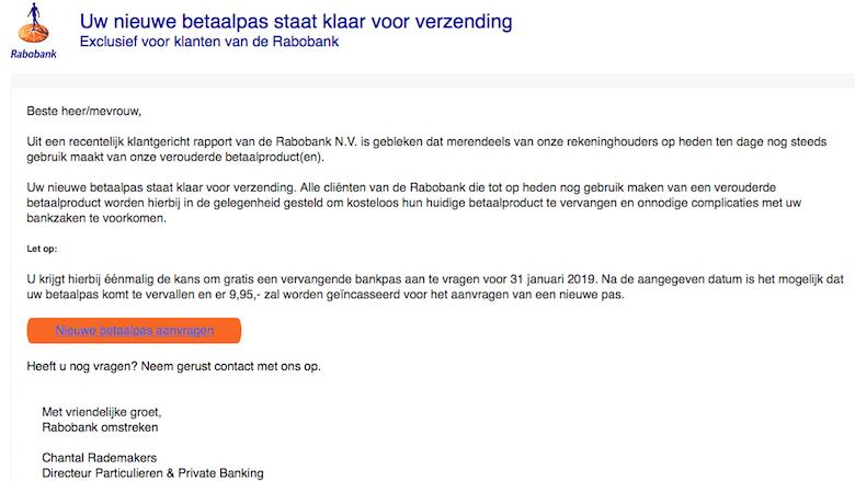 Let op! Het regent Rabobank phishingmails