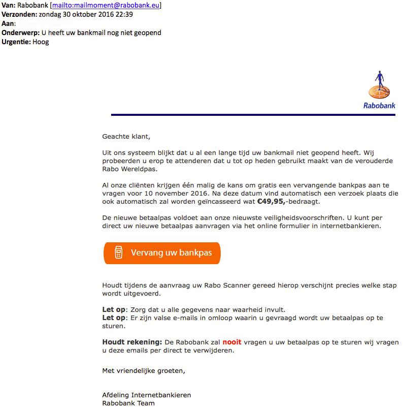 Pas op voor phishingmail 'Rabobank'