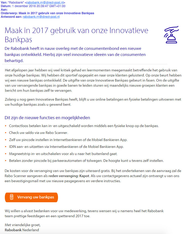 Valse e-mail 'Rabobank': nieuwe pas in 2017