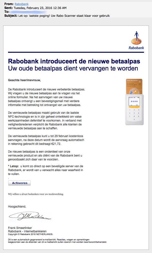 Valse e-mail Rabobank!