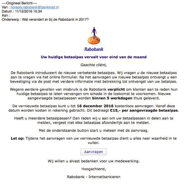 Valse e-mail: betaalpas 'Rabobank' vervalt
