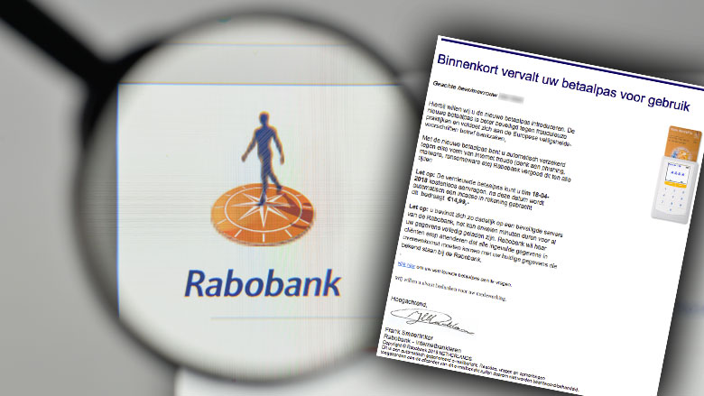 E-mail 'Rabobank' over nieuwe betaalpas is vals