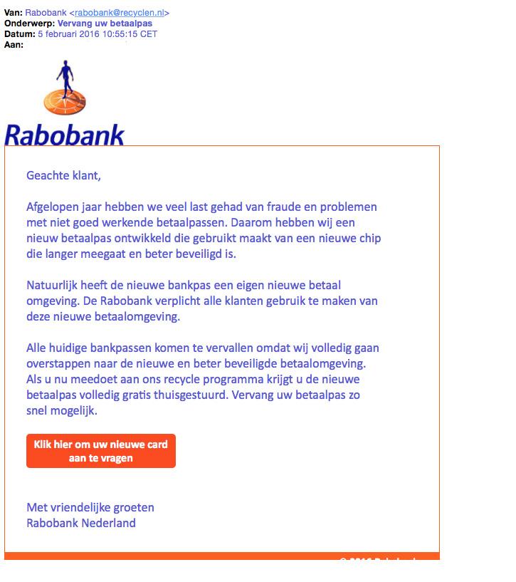 Nepmail 'Vervang betaalpas' Rabobank