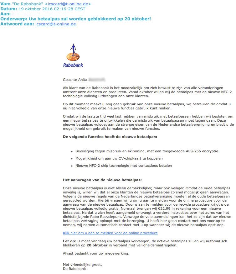 Valse e-mail 'Rabobank' bevat persoonlijke aanhef