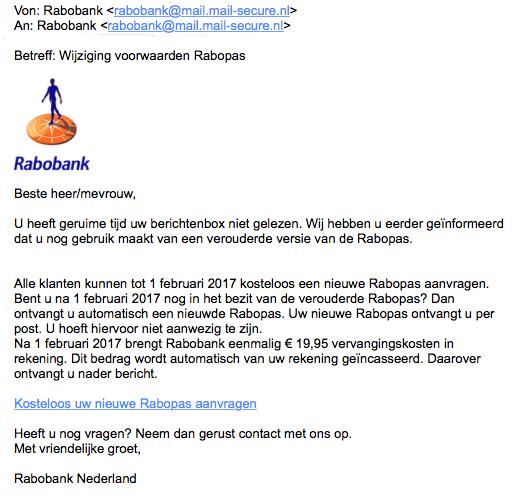 Phishingmail: 'wijzigen voorwaarden Rabopas'