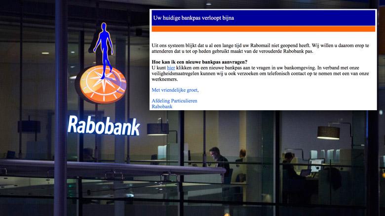 Trap niet in e-mail Rabobank over nieuwe pas