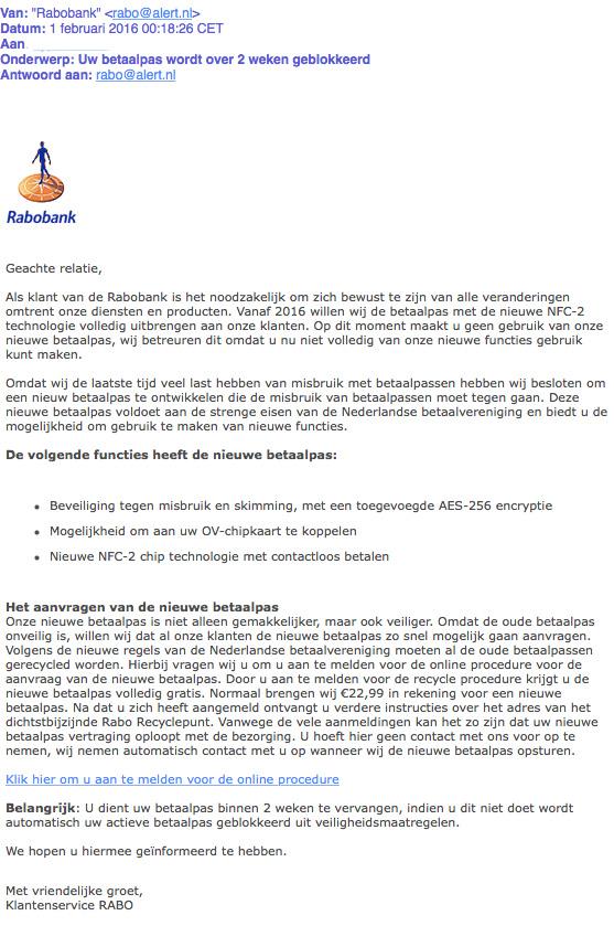 Valse e-mail Rabobank over blokkeren betaalpas