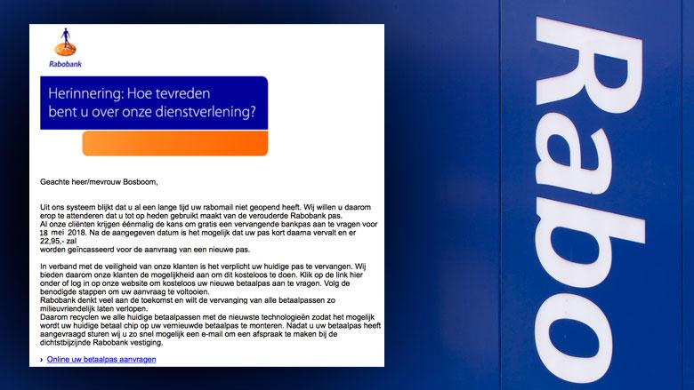 E-mail 'Rabobank' blijkt bankpas-phishing
