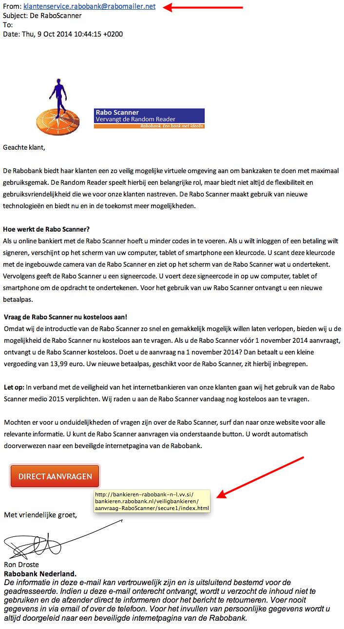 Phishing e-mail: 'De RaboScanner'