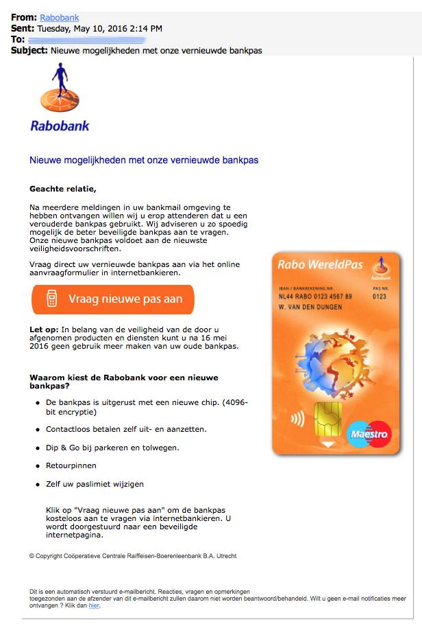 Phishingmail uit naam van Rabobank