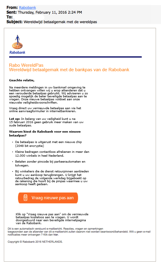 Phishingmail Rabobank: WereldPas