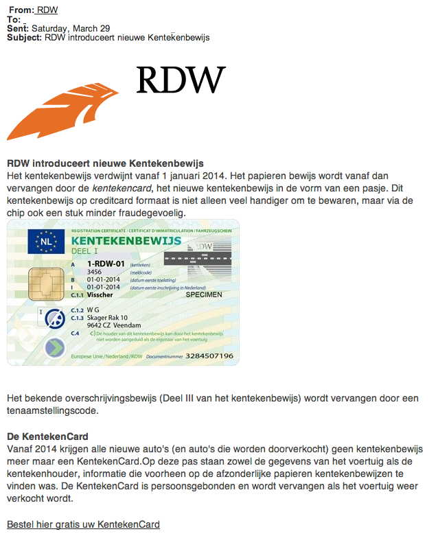 Reageer niet op 'RDW-mail' over gratis kentekenbewijs