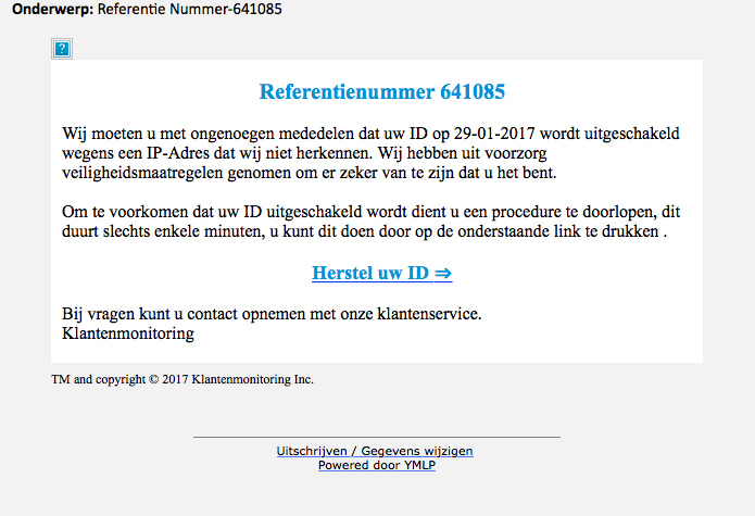 Pas op voor phishingmail 'herstel uw ID'
